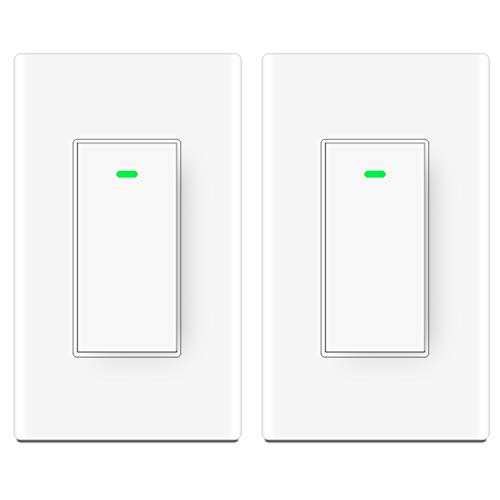 Smart Wifi Light Switch,Compatible with Alexa,Google Home, IFTTT,Wireless Remote Control, Neutral Wire Required,Physical Button, 2 Pack