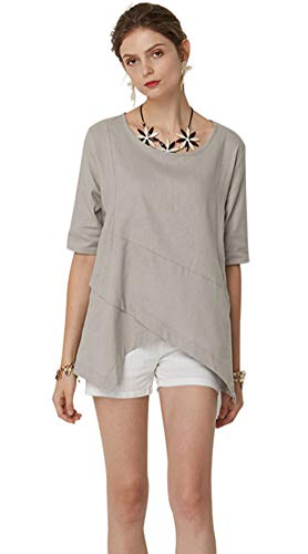 AK Solid Color Leisure Shirt Round Collar Five-Point Sleeve (Beige, Large) Cotton Point Collar Blouse