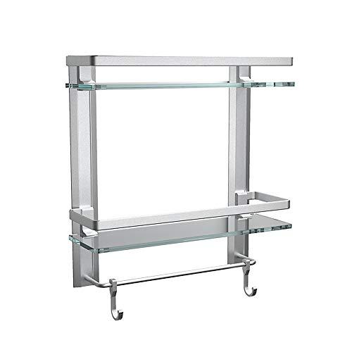 Tempered Glass Bathroom Shelf with Towel bar, Bathroom Wall Shelf with Hooks, Aluminum 2 Tier Bathroom Organizer self…