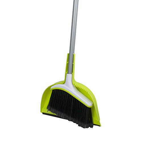 - Casabella Basics Broom with Dustpan, Silver and Green,