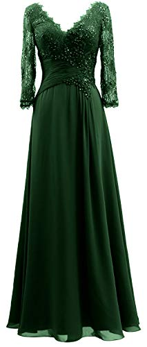 Of Dresses Green Neck Gown 4 Sleeves Bride Women Mother 3 Lace Evening Dark Macloth V 2019 gqwRFxO4