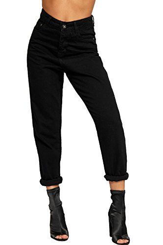 WEARALL Women's High Waisted Turn Up Boyfriend Straight Leg Denim Ladies Mom Jeans - Black - US 2 (UK 6)