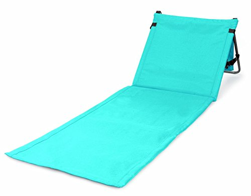Bo-Toys Portable Beach Mat Lounge Chair and Tote (Plain Blue)]()