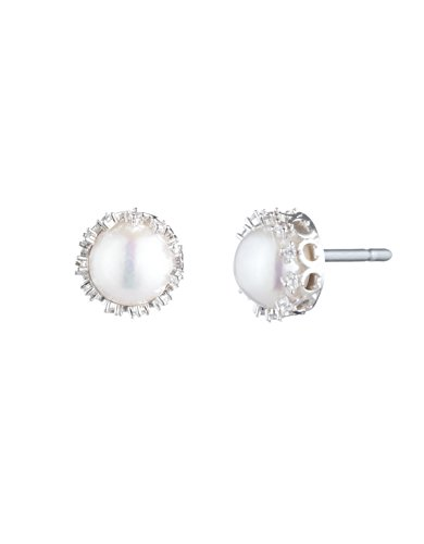 Carolee Women's Pearl Stud Earring with C Filigree Setting, Silver/White