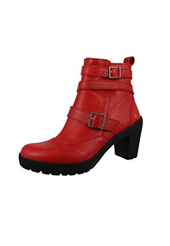 Art Leather Boot bota del tobillo del viaje Carmin Roja 0390 Carmin