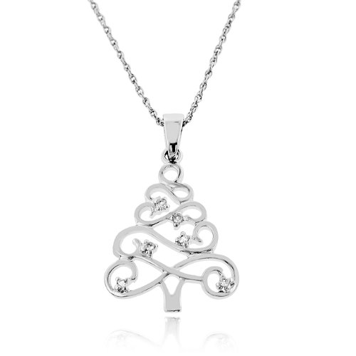 Amazon white sapphire christmas tree necklace in sterling amazon white sapphire christmas tree necklace in sterling silver pendant necklaces jewelry aloadofball Image collections
