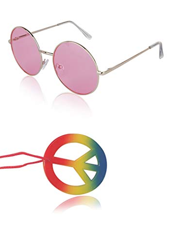 (Sunny Pro Round Sunglasses Retro Circle Tinted Lens Glasses UV400 Protection (Pink Sunglasses + Hippie paece sign necklace))