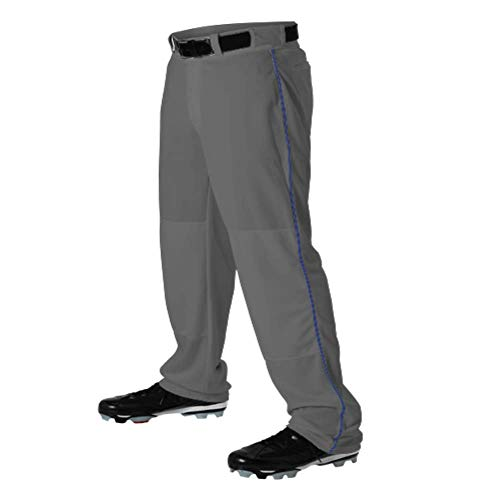 - Teamwork Youth Baseball Pants Graphite w/Royal Pipe X-Small Open Bottom Sunset 14oz.