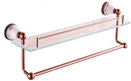 Bathroom Shelf Gold Pink Tempered Glass Storage Rack Space