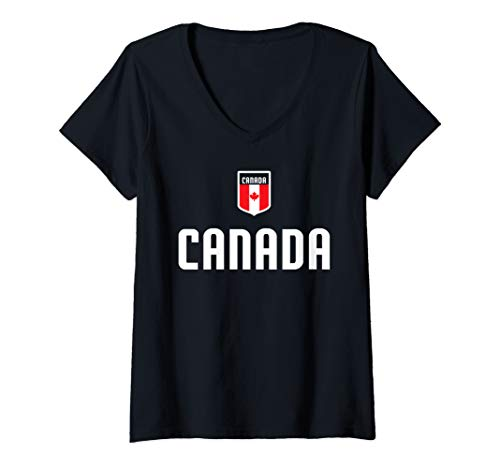 Womens Canada Soccer Jersey 2019 Canadian Team Game Fan  V-Neck -