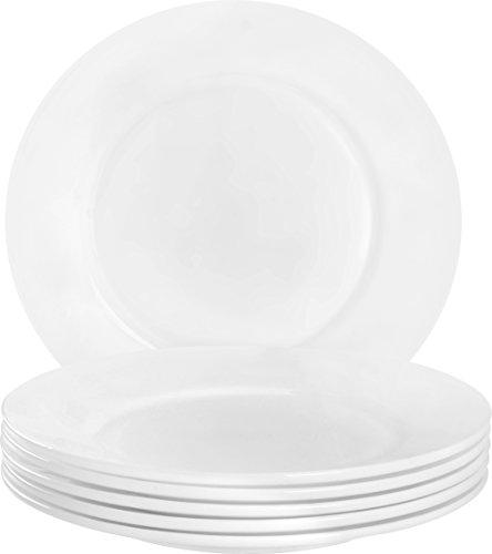 Utopia Kitchen 6 Pieces Plate Set - Dishwasher Safe Opal Glassware - Microwave/Oven Friendly by Utopia Kitchen