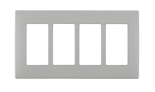 Leviton REWP4-PG Renu Four-Gang Screwless Snap-On Wallplate, Pebble ()