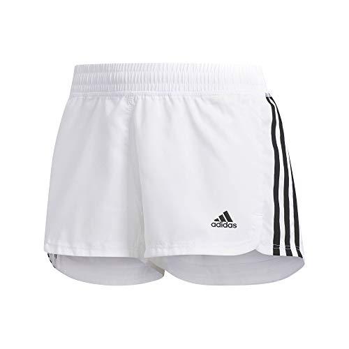 adidas Women Pants Running Pacer 3-Stripes Woven Shorts Fitness DU3508 Training (XS) White/Black