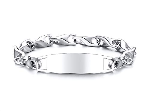 MINO Fashion Minimalist Style Stainless Steel Wishing Bone Hand Chain Blank Bended DIY Card Bracelet for Men and Women