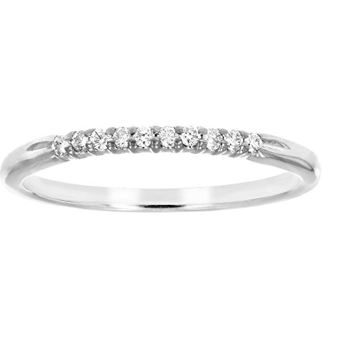 (Vir Jewels 1/10 cttw Petite Diamond Wedding Band in 10K White Gold In Size 6)