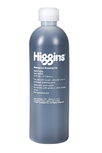 Higgins Black India Pigmented Drawing Ink, 16 Oz Bottle (44203)