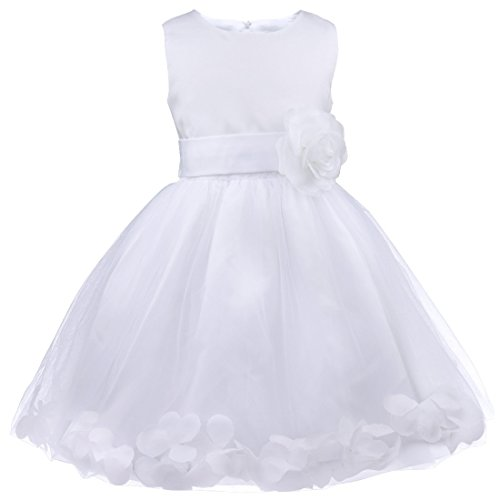 FEESHOW Wedding Flower Girls Dress Bridesmaid Formal Pageant Recital Graduation (White Dress For Teenager)