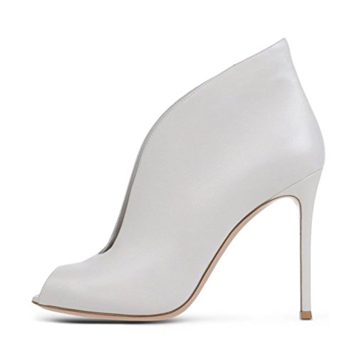Hollow Stiletto Gladiator Toe Summer Peep Women's AIWEIYi White Sandals Suede Boots YTOwqZH0