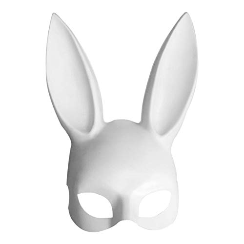 Cosplay Costume Party PP Rabbit Ears Mask Black White Halloween Decoration]()