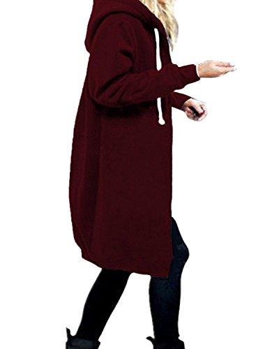 Elegante Cardigan Cappotto Lunga con Moda Giacca Invernale Chiaretto Felpa Donna Cerniera StyleDome Cappuccio xzBtwq1n