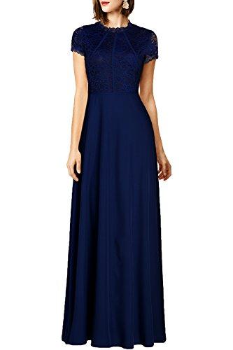 WOOSEA Women's Retro Floral Lace Wedding Maxi Bridesmaid Long Dress (Large, Navy Blue)