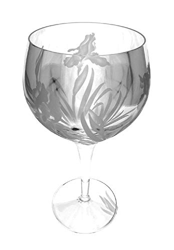 IncisoArt Hand Etched Italian Crystal Goblet Sandblasted (Sand Carved) Handmade Wine Water Glass Engraved (Iris Flower, 500 Milliliter (17 Ounce) Red Wine)