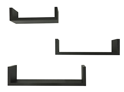 (EWEI'S HomeWares 3 Floating U Shelves, Espresso)