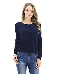 8de2d88388 BENANCY Women s Button Down Scoop Neck Long Sleeve Soft Knit Cardigan  Sweater