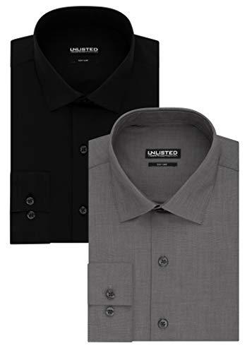 (Kenneth Cole Unlisted Men's Solid Dress Shirt, Black/Graphite, 16