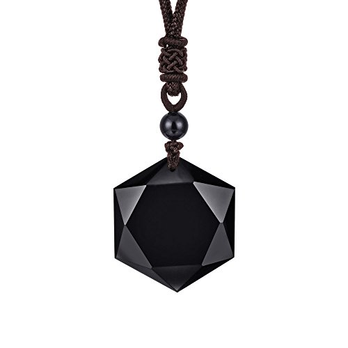 HERLANKKI Black Obsidian/Blue Sandstone Star of David Necklace Hexagram Amulet Gemstone Pendant Jewish Religious Jewelry for Men Women