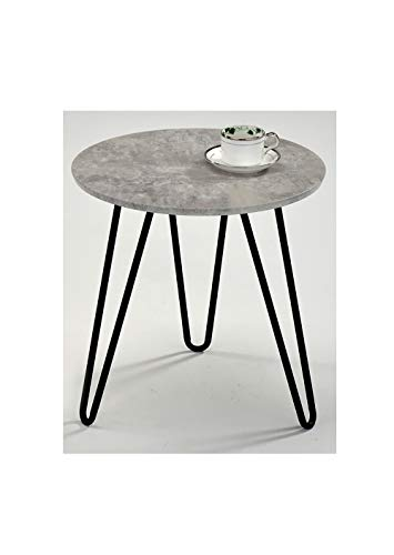 Muebletmoi - Mesa baja redonda con pie de sofa – Patas metalicas vintage – Bandeja efecto Beton – Estilo industrial contemporaneo – Luna 45