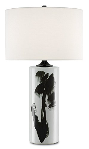 Price comparison product image Currey and Company 6000-0106 Heise - One Light Table Lamp,  White / Black Finish with White Linen Shade