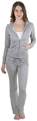 Cotton Womens Activewear Set (ToBeInStyle Women's Activewear Hooded Jacket & Pants - HGrey - Medium)