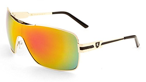 Khan Fashion Men's Square Aviator Style Sunglasses Sport Shades (Gold-black-fire Mirror, Fire Mirror)