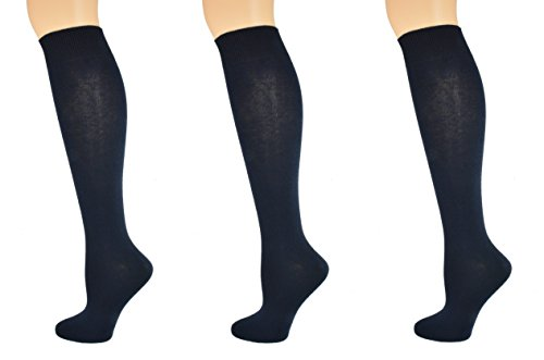 Sierra Socks Girl's School Uniform Knee High 3 pair Pack Cotton Socks G7200 (M/Shoe Size 12-6, Navy) -