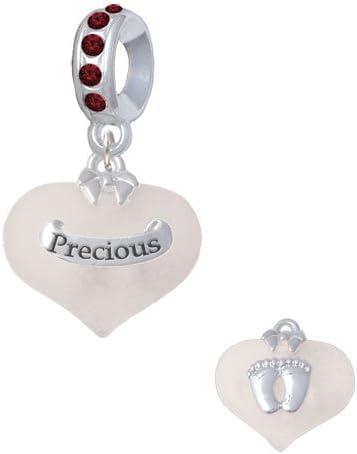 Maroon January Birthday Crystal Charm Bead Silvertone Precious White Heart with Baby Feet
