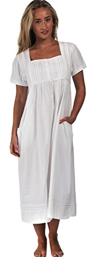The 1 for U 100% Cotton Short Sleeve Nightgown with Pockets - Lara (XXL) White
