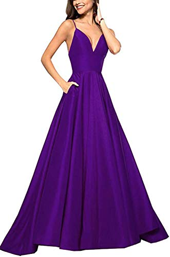 RrBoy Women's Spaghetti Strap V Neck Prom Dresses Long 2019 A-line Satin Formal Evening Ball Gowns with Pockets Purple ()
