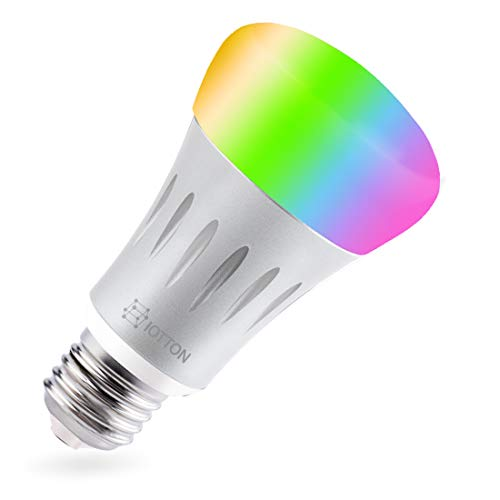 Iotton Smart Bulb, Wi-Fi LED Light Bulb, Multicolored with Soft White, E27, A19, Dimmable, 7W (60W Equivalent), Smartphone App Controlled, Works with Alexa and Google Assistant, No Hub Required