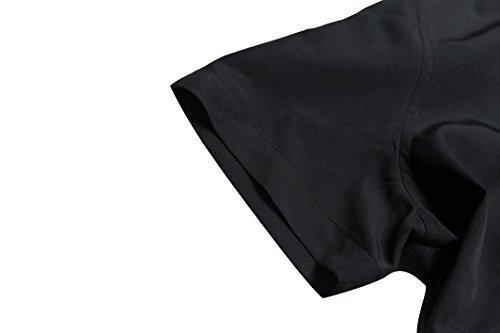 FANZHUAN Mode Et Vetement Chemises Noir Homme Casual Manche Courte Slim Fit