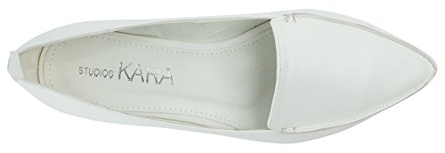 AnnaKastle Womens Vegan Leather Chic Pointy Toe Loafer Flat Slip On Shoes White Hv6t1lS01