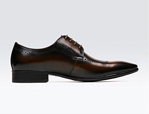 HWF Scarpe Uomo in Pelle Primavera scarpe da uomo in pelle a punta usura formale Business britannico stile marea scarpe casual pizzo (Colore : Yellow-brown, dimensioni : EU 41/UK7) Yellow-brown