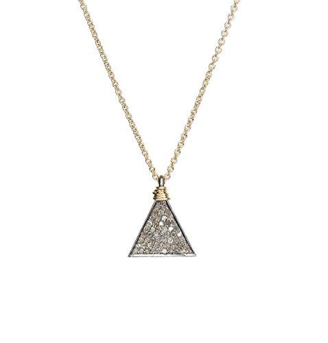 - Genuine Diamond Geometric Triangle Pendant Necklace- Mixed Metal- 17