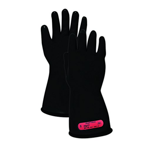 """Magid Glove & Safety M011B7 A.R.C. Natural Rubber Latex Electrical Insulating Gloves with Straight Cuff, Class 0, Size 7, 11"""" Length, Black (1 Pair)"""