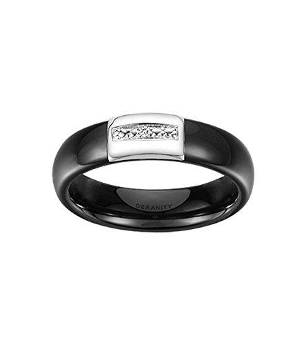 Bague Ceramique argent et diamant 1-18/0022-N