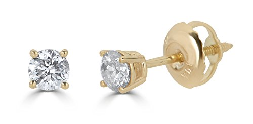 AGS Certified 14k Yellow Gold Round-Cut Diamond Stud Earrings (1/2cttw, K-L Color, I1-I2 - Post Diamond Classic Earring