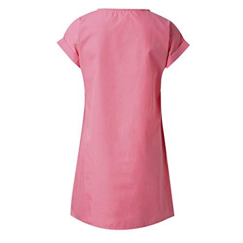 Forthery Womens Solid Print Dress Summer Loose Beach Swing Mini Dress Shift Daily Short Sleeve V Neck Paneled Plain Dresses(Pink,S=US 4)