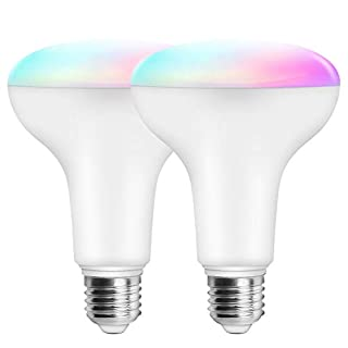 MagicLight 11W (100w Equivalent) WiFi Smart Multicolored and White BR30 Flood Light Bulb, E26 Dimmable RGBCW Color Changing Bulb, Compatible with Alexa Google Home Siri IFTTT (2 Pack)