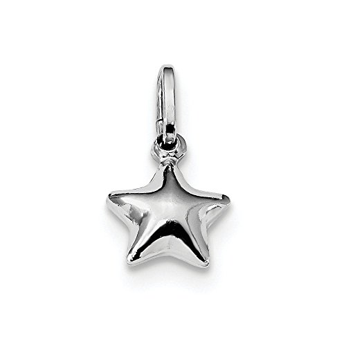 Sterling Silver Polished Puffed Star Pendant Charm (10mm x 19mm) Sterling Silver Puffed Star