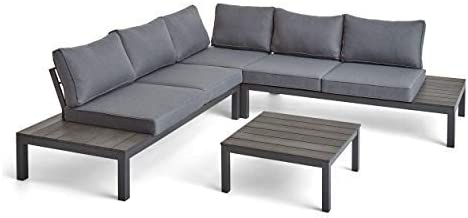 Great Deal Furniture Leo Outdoor Aluminum V-Shaped Sectional Sofa Set, Gray and Dark Gray